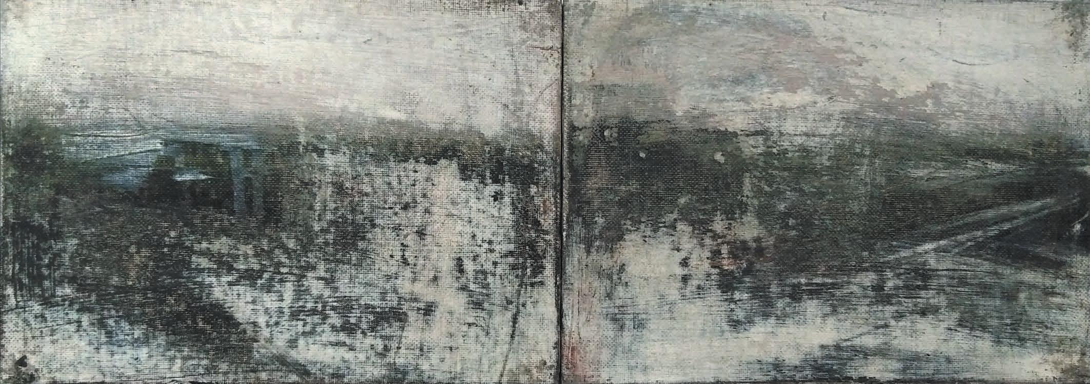 Massimo Romani, Landscape (1) - 2019 - olio su cartone telato - 13 x 36 cm