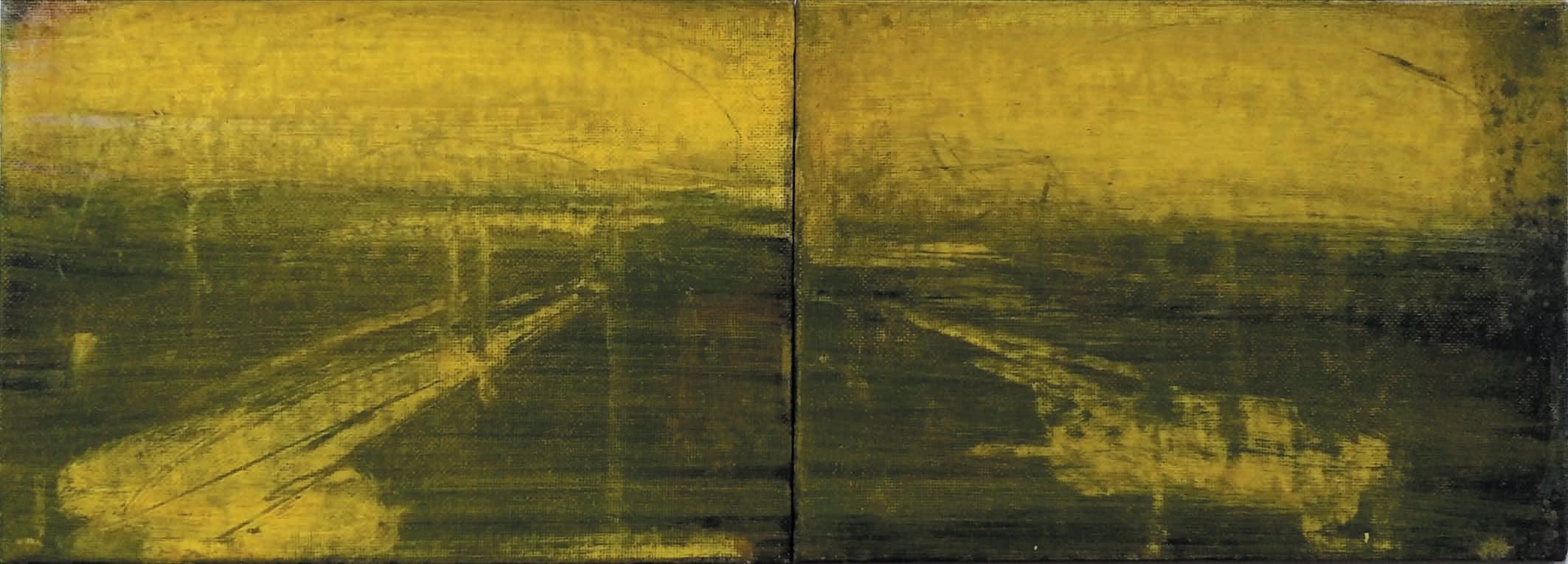 Massimo Romani, Landscape (12)- 2019 - olio su cartone telato - 13 x 36 cm