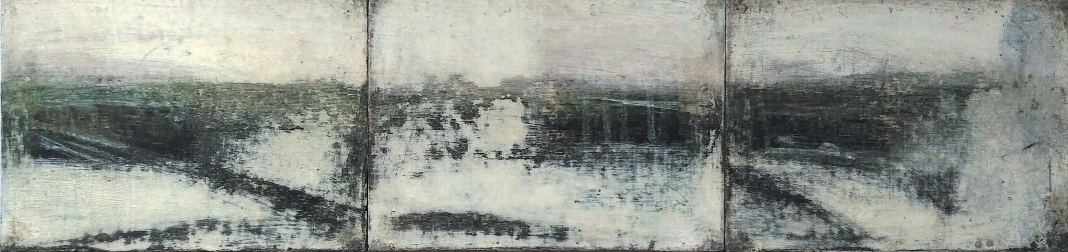 Massimo Romani, Landscape (13)- 2019 - olio su cartone telato - 13 x 54 cm