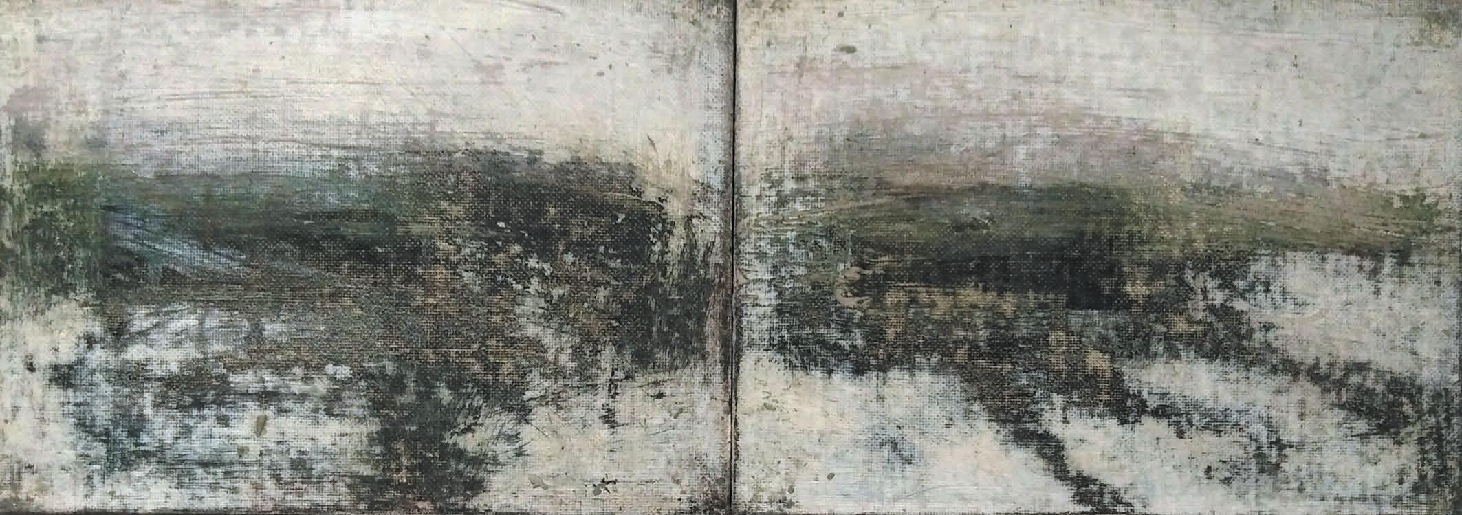 Massimo Romani, Landscape (2)- 2019 - olio su cartone telato - 13 x 36 cm