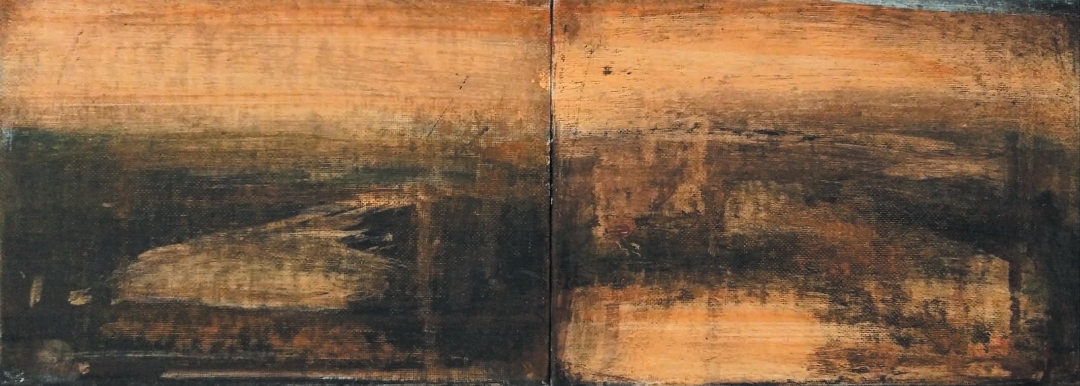 Massimo Romani, Landscape (3) - 2019 - olio su cartone telato - 13 x 36 cm