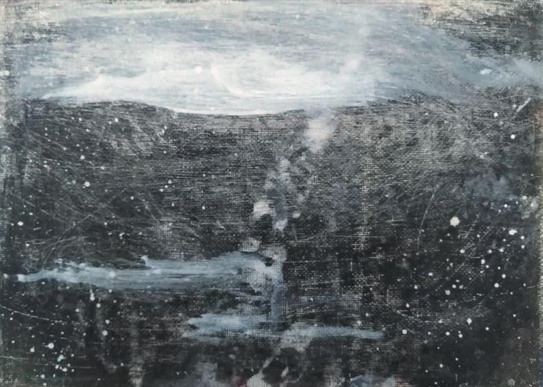 Massimo Romani, Landscape (8)- 2019 - olio su cartone telato - 13 x 18 cm