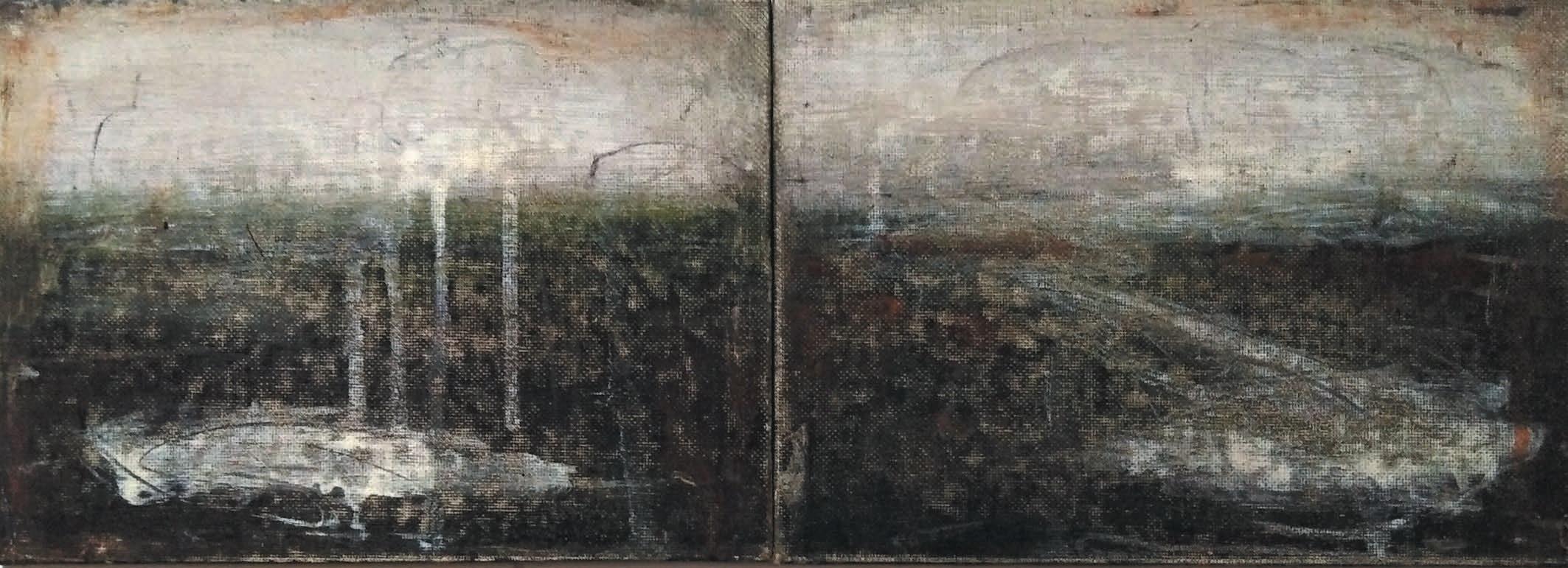 Massimo Romani, Landscape (4) - 2019 - olio su cartone telato - 13 x 36 cm